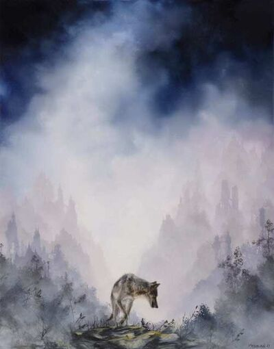 Brian Mashburn, 'Gray Wolf on Rocks', 2021