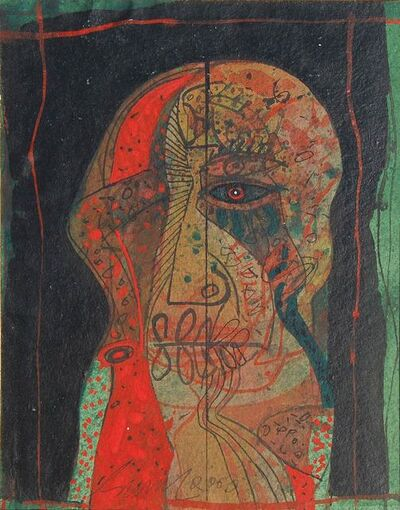 "Sunil Das, 'Head IV, Mixed Media on Board, Red, Green, Black by Modern Indian Artist Sunil Das ""In Stock""', 2003"