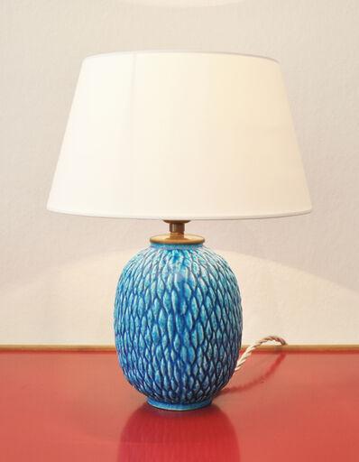 Gunnar Nylund, 'Table lamp in blue glazed ceramic', ca. 1950