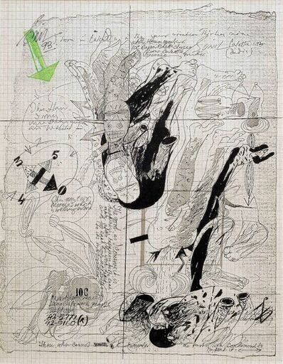 "Sunil Das, 'Ink & Water Colour on Graph Paper by Padma Shree Artist Sunil Das ""In Stock""', 1993"