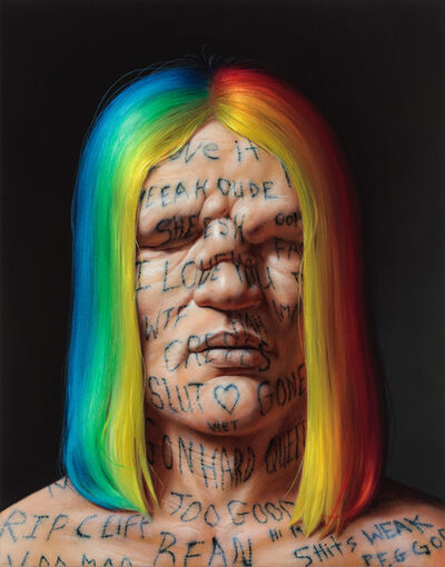 Christian Rex van Minnen, 'Self-Portrait with Rainbow Hair and Instagram Live Video Comments', 2017