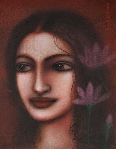 """Suhas Roy, 'Radha, Mixed Media on Board by Modern Indian Artist """"In Stock""""', 2008"""