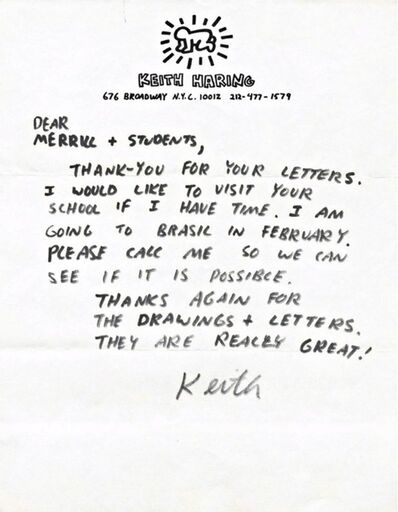 Keith Haring, 'Handwritten Letter', ca. 1987