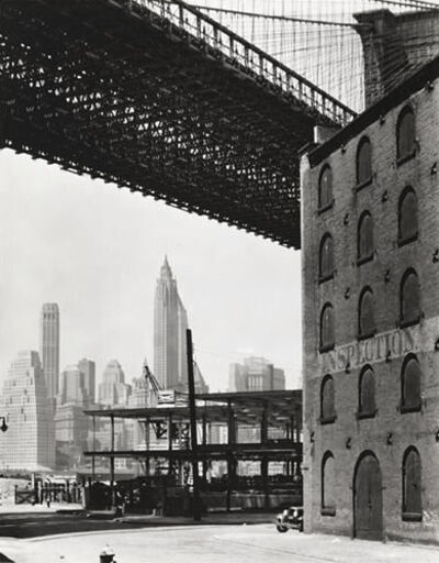 """Berenice Abbott, 'Brooklyn Bridge, Water and Dock Streets (from the series """"Changing New York"""")', 1936"""