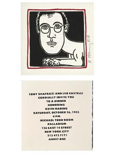 "Keith Haring, '""SELF-PORTRAIT"" (Invitation to Palladium Haring Dinner Party), 1985, SIGNED/Dated Edition.', 1985"