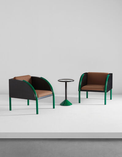 Shiro Kuramata, 'Pair of armchairs and side table, from the Livina Yamagiwa building, Tokyo', designed 1983