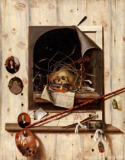 Cornelis Norbertus Gysbrechts, 'Trompe l'oeil with Studio Wall and Vanitas Still Life ', 1668