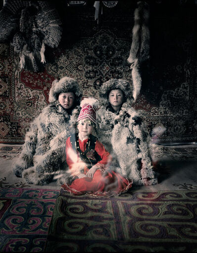 Jimmy Nelson, 'VI 27 Bakbergen, Samil & Kamilla Altantsogts, Bayan Olgii, Mongolia', 2011