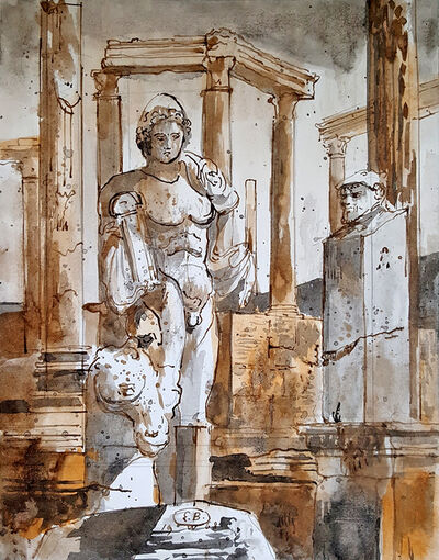 Eugene Berman, 'Leptis Magnus: Columns of the Theatre and Statues', 1968