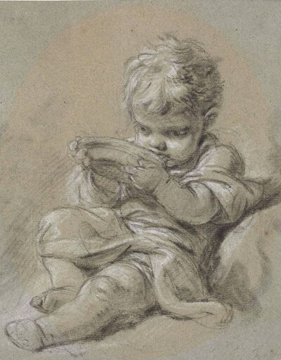 François Boucher, 'A small child seated, drinking from a bowl'