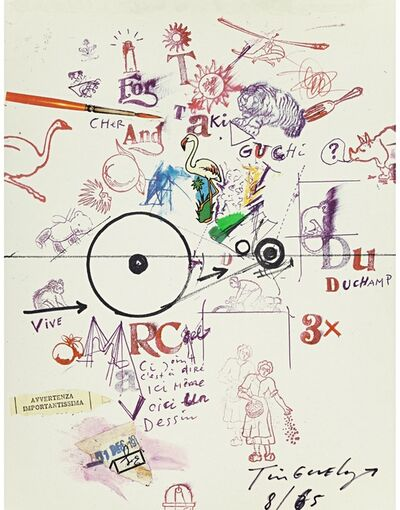 "Jean Tinguely, 'Collage Drawing/""Collage Dessin"" from To and From Rrose Sélavy (aka Marcel Duchamp)', 1965"