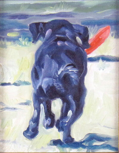 Sheila Wedges, 'Black Lab Pup and Frisbee', ca. 2005