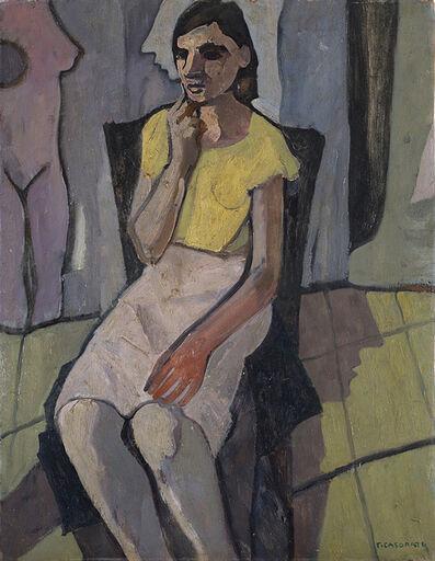 Felice Casorati, 'Ragazza seduta (con l'abito chiaro)', 1942