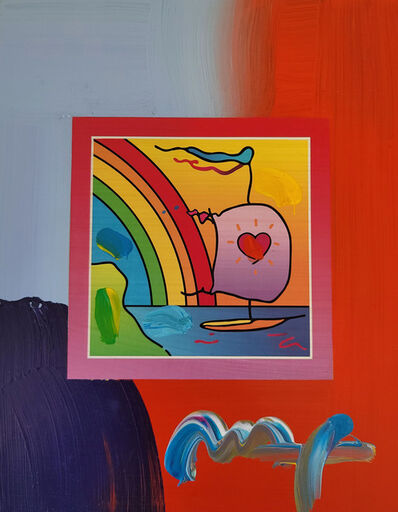 Peter Max, 'Peter Max, Sailboat with Heart on Blends 2007 #1283 (Framed Original Painting)', 2007