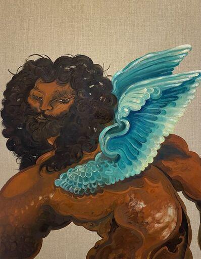 "Asif Hoque, 'Study of ""Venere cupido e il satiro""- Bronzino, part 1 ( blue wings)', 2020"