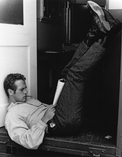 John R. Hamilton, 'Paul Newman, outside the door of his dressing room at Warner Bros. Studio, on a break from filming The Lef', 1990s