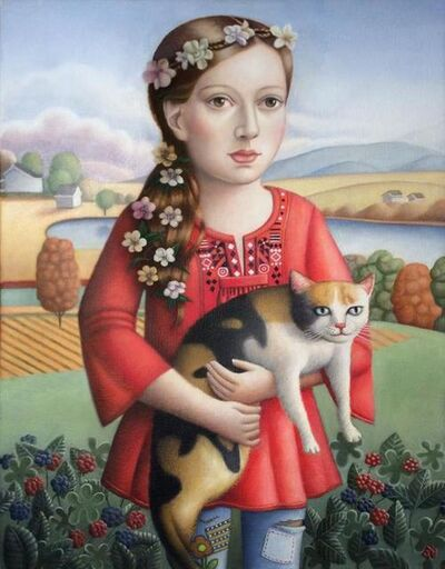 Amy Hill, 'Young Woman with Cat', 2018