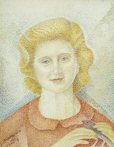 Marie Vorobieff Marevna, 'Portrait of a woman holding a bird', 1979