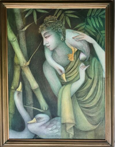 "Bratin Khan, 'Enlightened Purusha, Tempera on Canvas by Contemporary Artist ""In Stock""', 2015-2020"