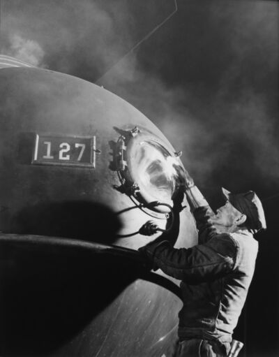 O. Winston Link, 'Dalhouse Cleans Headlight, Close Up', 1950