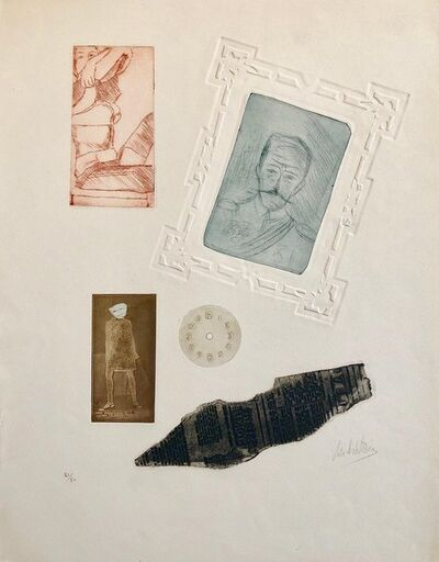 Zvi Milshtein, 'Portraits Erotic Vignettes French Israeli Surrealist Aquatint Etching Le Colonel', 20th Century