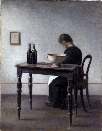 Vilhelm Hammershøi, 'Vilhelm Hammershøi, Interior with Woman Sitting at a Table', 1910