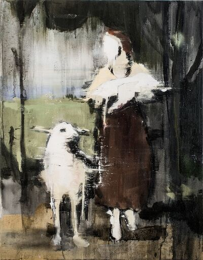 Lars Teichmann, 'Girl With Lamb IV', 2016