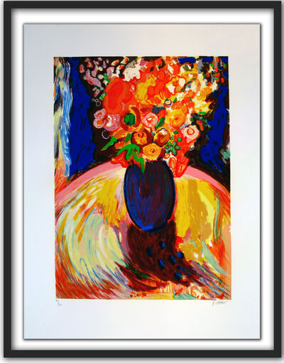 Yehouda Chaki, 'Yellow Bouquet in Blue Vase', 2015