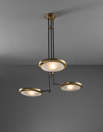 Stilnovo, 'Unique large three-arm ceiling light, designed for the Cartoleria Adua, Milan', circa 1947