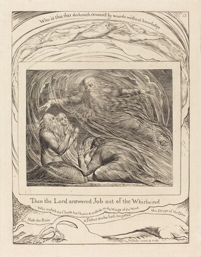 William Blake, 'The Lord Answering Job out of the Whirlwind', 1825