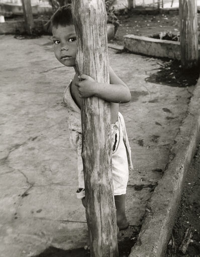 Manuel Carrillo, 'Untitled [Portrait of Young Boy/Arm around Wooden Pole]', 1950