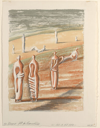 "Henry Moore, 'Twilight Landscape from from a set of 8 color lithographs to illustrate Goethe's ""Prométhée"", published in France by Henri Jonquieres.', 1950"