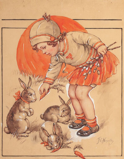 F. E. Nosworthy, 'Little Girl Feeding the Bunnies, Probable Magazine Cover'