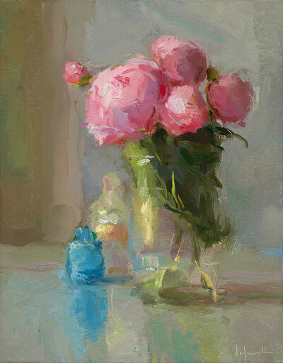 Christine Lafuente, 'Peonies and Blue Bottle', 2017