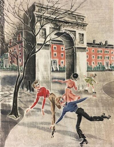 Virginia Bill, 'Skaters in Washington Square (NYC)', ca. 1940