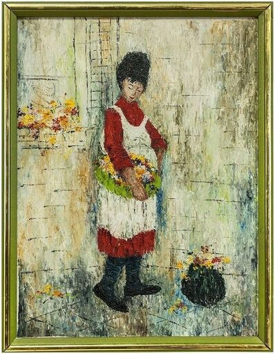 Mildred Barrett, 'Woman in Apron with Basket of Flowers, Oil Painting', 20th Century