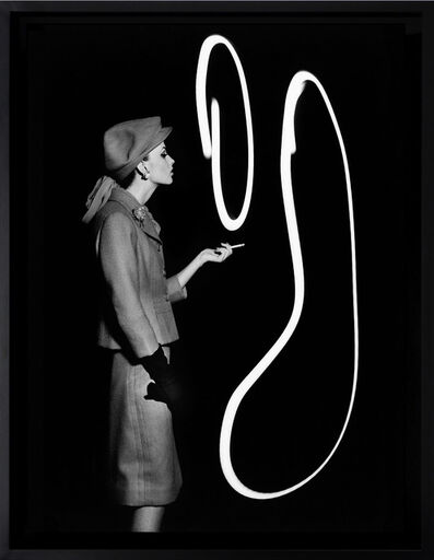 William Klein, 'Dorothy blowing light smoke rings, Paris', 1962