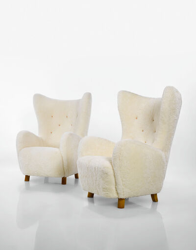 "Mogens Lassen, 'Pair of ""Wing"" Armchairs', circa 1930"