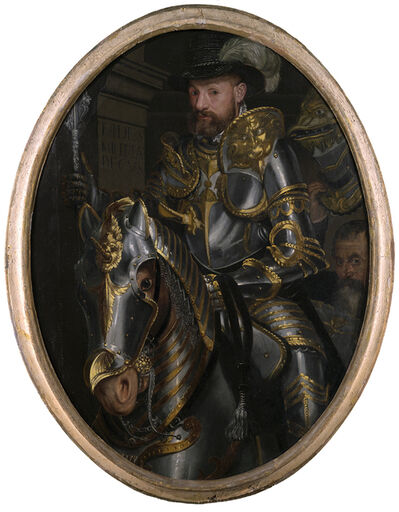 Attributed to Pasquale Ottino, 'Equestrian portrait of a nobleman in armour', Early 17th Century