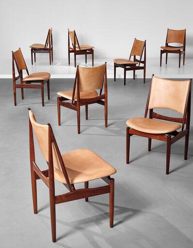 Finn Juhl, 'Rare set of eight 'Egyptian' dining chairs, model no. FJ 49', Designed 1949