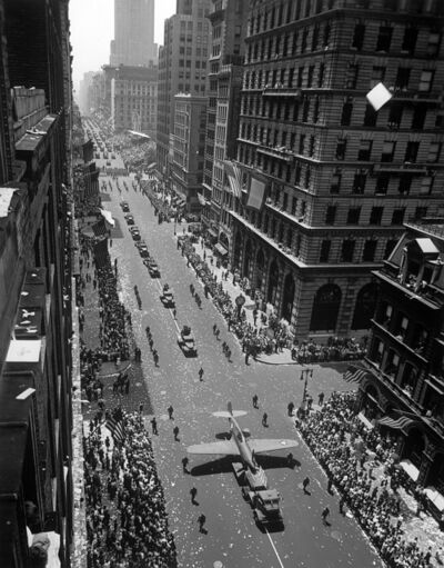 "Andreas Feininger, 'Model of plane on float in ""New York at War"" parade, New York City', 1942"