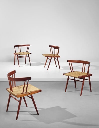 George Nakashima, 'Set of four early grass-seated chairs', designed 1944-executed 1951