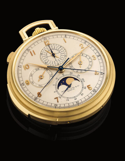 Patek Philippe, 'A very rare and fine yellow gold minute repeating perpetual calendar open face split-seconds chronograph pocket watch with moonphase', 1930