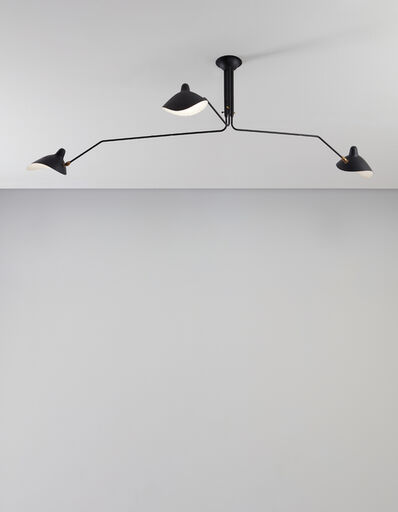 """Serge Mouille, 'Three-armed adjustable ceiling light with """"Casquette"""" shades', designed 1958"""