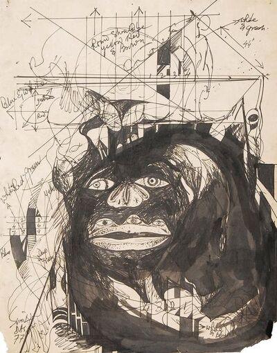 """Sunil Das, ' Avant-garde Gusto, Drawing, Ink on Paper, Black & White, Modern Art """"In Stock""""', 1977"""