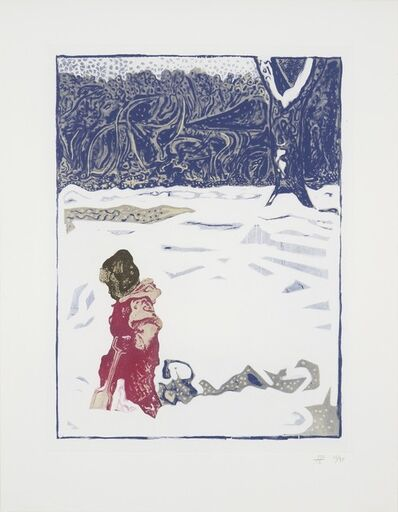 Billy Childish, 'Girl in Snow With Tree', 2012