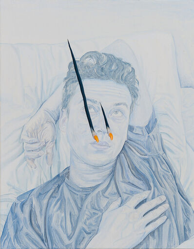 Tristan Pigott, 'Flimsy Film, Pierced Image: A Portrait Painting of My Friend Alex as a Retinal Stain Being Pierced by Two Fingers or Claws', 2018