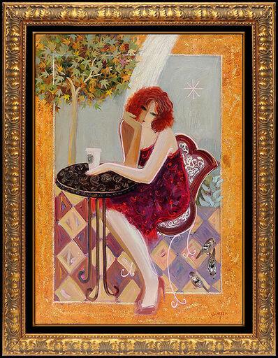 Mahmood Sabzi, 'Mahmoud Sabzi Large Oil On Canvas Original Painting Signed Framed Cafe Lady Art', 2008