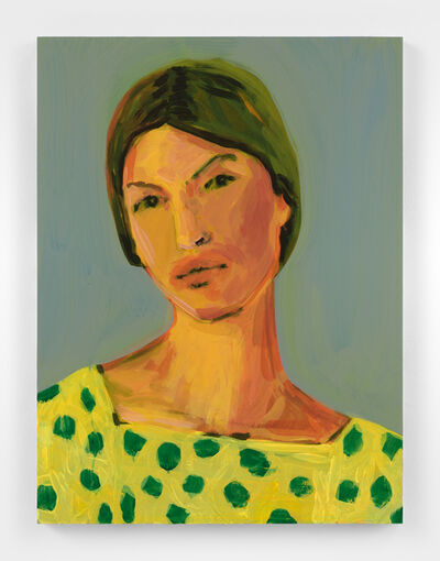 Claire Tabouret, 'Makeup (green dots)', 2021