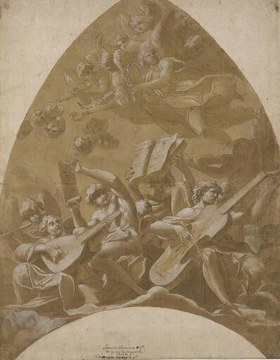 Lucio Massari, 'Angels and putti making music in the clouds: design for a vault'